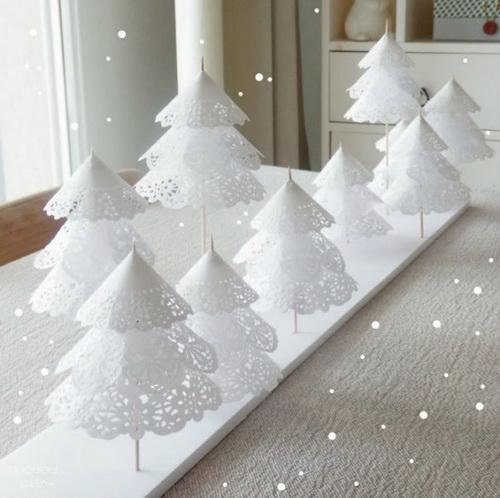 белые бумажные елки