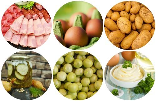 Рецепт оливье с колбасой и солеными огурцами ингредиенты