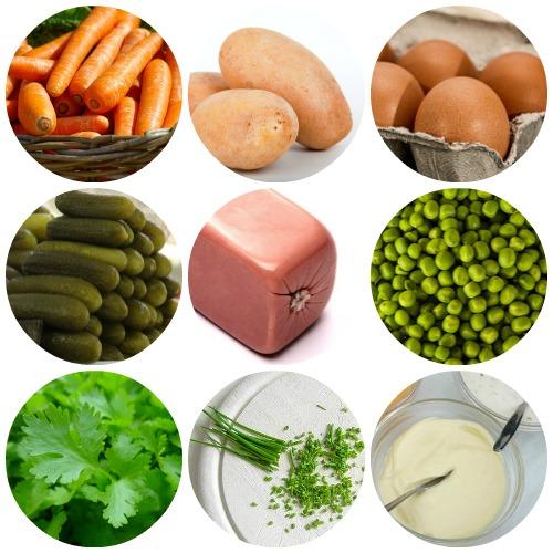 Салат оливье: рецепт классический с колбасой ингредиенты