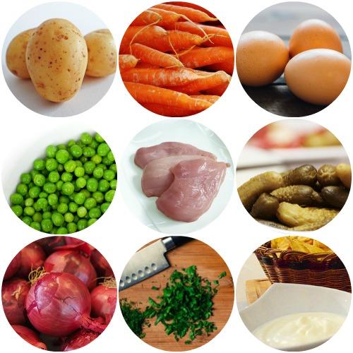 Салат оливье: рецепт классический с курицей ингредиенты